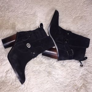 New COACH Moto Black Lather Boots Booties